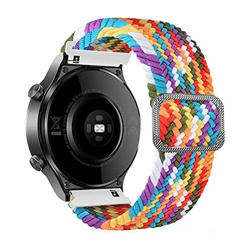 22mm braided solo loop適合Samsung Galaxy Watch 3 45mm/Galaxy Watch 46mm/Gear S3/for Amazfit gtr 47mm/stratos編組ソロループ弾性シリコン生地ナイロンアジャスタブルスポーツストラップfor Huawei Watch GT/GT2/GT2 Pro