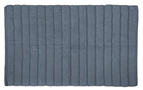 DII Cotton Ultra Absorbent Soft Luxury Spa Ribbed Bath Mat or Rug Place in Front of Shower, Vanity, Bath Tub, Sink, and Toilet 21x34' Stone Blue