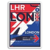 2 x 10cm Londres LHR Aeropuerto pegatinas de vinilo - Viajes Reino Unido Etiqueta de equipaje # 17741 (10 cm de altura)