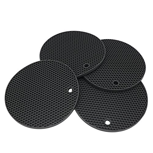 Lucky Plus Silicone Pot Mat for Countertop Trivet Pads Heat Resistant Table Placemats 4 Pack,Size:7x7 Inch, Color: Black, Shape:Round