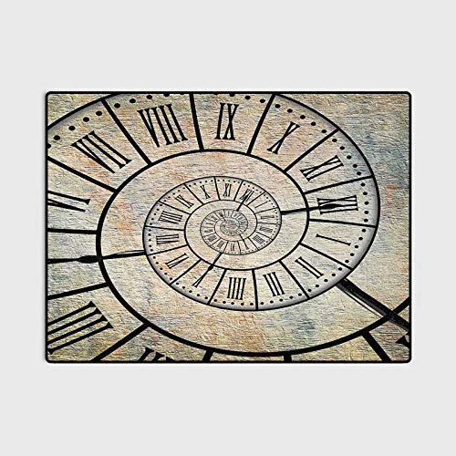 Clock Outdoor Rugs for patios Outdoor Area Rug A Roman Digit Time Spiral on The Vintage Textured Background Design Passing of Time Print Best Gifts for Women 2020 Sepia 6.5 x 9.8 Ft