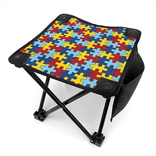 COMMER Taburete plegable portátil con diseño de concienciación sobre autismo, con bolsa de transporte, taburete de pesca para pesca, senderismo, jardinería y playa, 30,5 x 30,4 cm