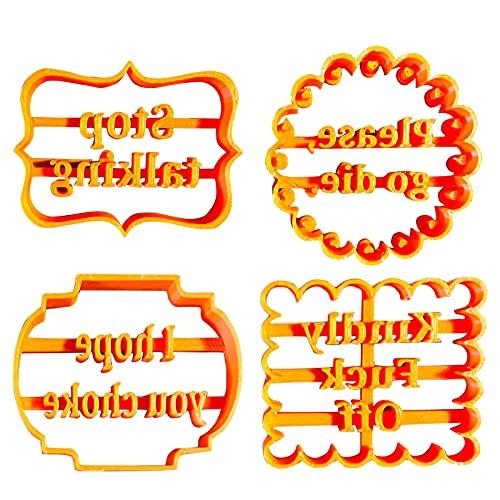 Abilieauty Moldes de galletas con buenos deseos forma de galletas con frases divertidas e irreverentes Moldes de galletas para hornear cortadores de galletas sellos