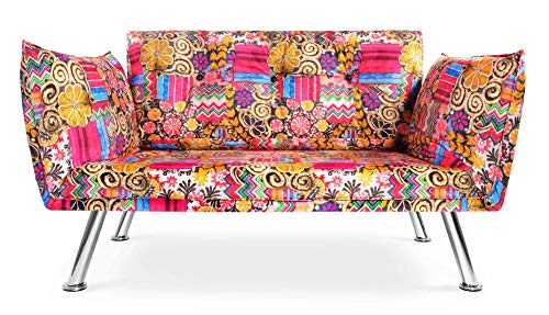 Easysitz Sofa 2 Sitzer Schlafsofa Zweisitzer Klein 2-Sitzer Couch Schlafsessel Bettsofa Futon Bed Sessel Sitz Kleines Sitzen für Er EIN Einer Zweier Mein Personen Farbauswahl (Hippie)