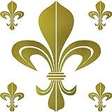 GreenIT Set Aufkleber Tattoo Bourbon Florenz Lilie Fleur de Lis Auto Tür Fenster Deko Folie (Gold, Bourbon)
