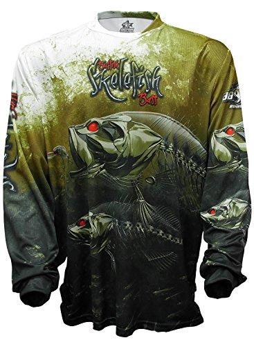 Bigfish SKELEFISH BASS UPF50 Long Sleeve Performance Fishing Shirt (2X-Large) Olive