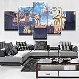 Rudxa Sala de Estar Imagen Lienzo Pintura Edificio aéreo Decoración Restaurante Arte de la Pared Arte Creativo Cartel 5 Piezas/Set-sin Marco