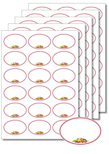 90 Etiketten oval Roter Rahmen Obst zum Bedrucken, Beschriften, DIN A4, selbstklebend Marmeladenetiketten Haushaltsetiketten Gewürzetiketten