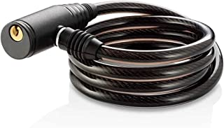 Cadeado com Chave para Bike 8mm de Diâmetro 100cm de Comprimento Aço/Silicone Preto - BI011 Atrio
