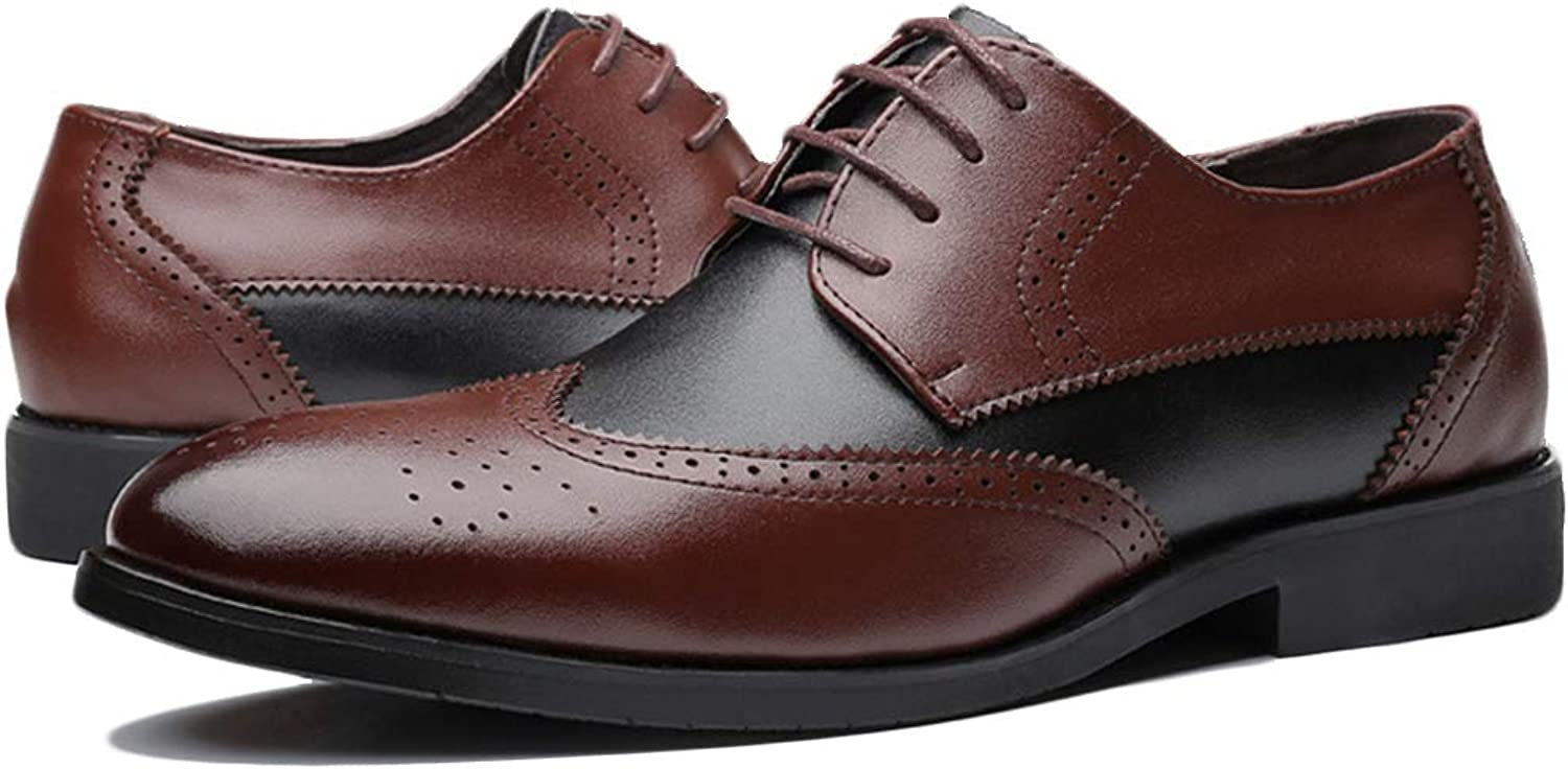K-Flame Brogues Lace ups shoes Business Formal Dress Leather Round Head Footwear Vintage Casual for Office Outdoor Work