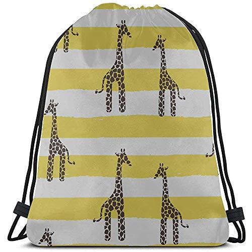 Cartoon kleurrijk schilderij giraf trekkoord zakken polyester trekkoord gym trekkoord tas voor gym reizen