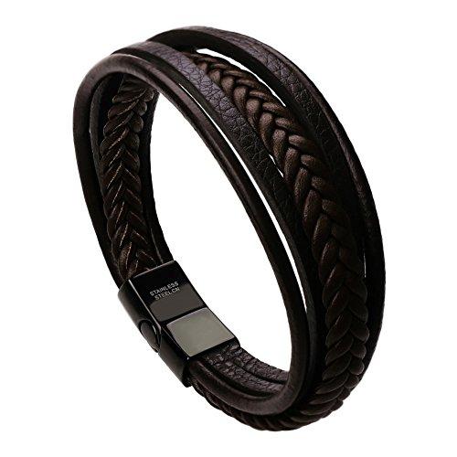 murtoo Pulsera Hombre Cuero Acero Inoxidable Cierre Magnética Negro Cuero Marrón Negro Trenzada Brazalete (Marrón 19cm)