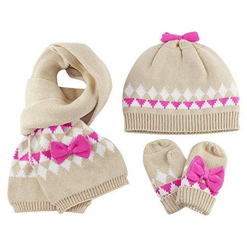 Guanti Sciarpa cappello lavorato a maglia Set 3 pezzi invernali Bebè Bambine 1-2 Anni Ragazze Doppio strato Crochet caldo Berretto in cotone Beanie manopole fazzoletto da collo, bowknot cachi S