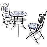 vidaXL Set Mueble Mesa Mosaico 60 cm y 2 sillas jardín Patio Color Azul Blanco