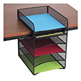 top 10 gadgets - Safco Products Onyx Mesh 5-Tray Underdesk Hanging Organizer 3240BL, Black Powder Coat Finish, Durable Steel Mesh Construction