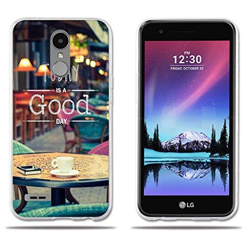 FUBAODA Funda Carcasa para para LG K10 (2017), Carcasa de Silicona Transparente TPU, Dibujo con Lema Buen Día, Carcasa Protectora de Goma de Altisima Calidad para para LG K10 (2017) (5.3')