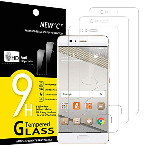 NEW'C Lot de 3, Verre Trempé Compatible avec Huawei P10, Film Protection écran sans Bulles d'air Ultra Résistant (0,33mm HD Ultra Transparent) Dureté 9H Glass