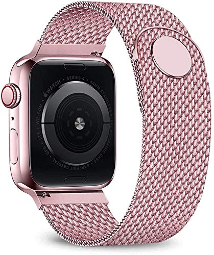 CGGA Milanese loop band For Apple watch strap 44mm 40mm 38mm 42mm Metal belt Stainless steel bracelet iWatch series 5 4 3 se 6 strap Watch strap (Band Color : Pink gold, Band Width : 38 or 40 mm)