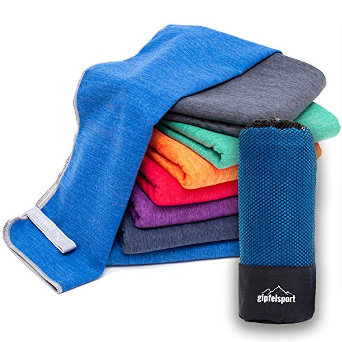 Mikrofaser Handtuch Set 'Brush' - Microfaser Handtücher mit Tasche für Sauna, Fitness, Sport I 1x L(140x70cm) | Blau