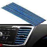 Tira decorativa salida de aire para coche, 10 PCS Tira Moldura Interior de Coche, Tiras de salida de aire acondicionado ventilación de aire Cubierta protectora (azul-ice)