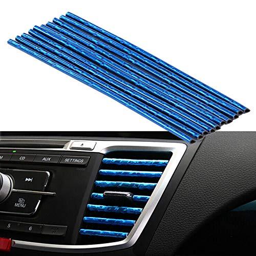Tira decorativa salida de aire para coche, 10 PCS Tira Moldura Interior de Coche, Tiras de salida de aire acondicionado ventilación de aire Cubierta protectora (azul-ice) ⭐
