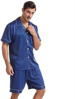 ZZJHH Men's satin pajamas set home service, underwear casual pajamas home service,Blue,L