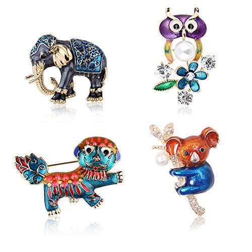 LaMure Set of 4 Fashion Colorful Enamel Brooch Pins Animals Brooch Pins Crystal Rhinestone Koala Elephant Lion Owl Brooch Pins for Party Gift Jewelry Accessories Backpack Decor