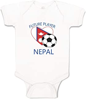 Custom Boy & Girl Baby Bodysuit Future Soccer Player Nepal Funny Striped Clothes