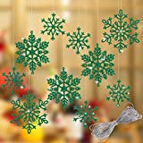 Whaline 40Pcs Green Glitter Snowflake Winter Snowflake Ornaments Christmas Hanging Decorations with 197 Inches Silver Rope for Wedding Birthday Home Xmas Tree Window Door Accessories
