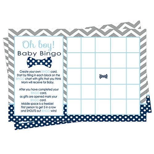Bow Tie Baby Shower Bingo Game Pack (25 Cards) Guests Fill-In Blanks with Gifts Guesses - Boys Little Man Theme – Cute Sprinkle Activities – Favors Navy and Gray