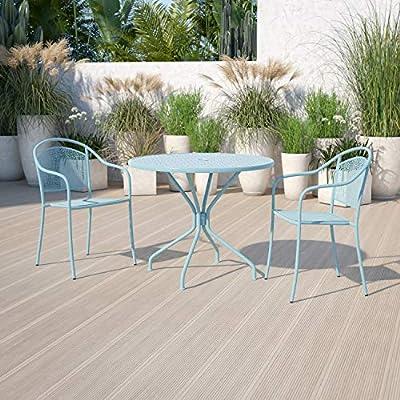 "Flash Furniture Commercial Grade 35.25"" Round Sky Blue Indoor-Outdoor Steel Patio Table"