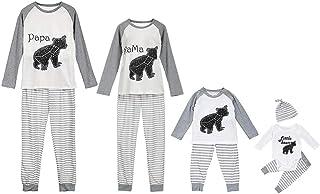 Pijama Familiar a Juego Dibujos Animados Tops a Rayas Pantalones Bebe Unisex Casual Camisetas Padres e Hijos Divertidos Ropa para Dormir