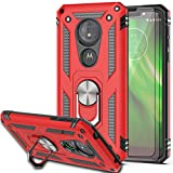Moto G6 Play Case,Moto E5 (XT1920DL) Case with HD Screen Protector (2Pack) KaiMai 360 Degree Rotating Ring & Bracket Dual Layers of Shockproof TPU and Solid PC Phone Case for Moto G6 Forge-Red