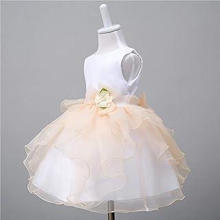 Baby Princess Dress Wedding Princess Pageant DressesAutumn Summer Children's Dress (Color : Beige, Size : S)