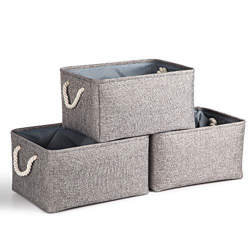 Aufbewahrungsboxen Körbe Groß aus Leinen Stoff 3er-Pack,Faltbare Lagerplätze mit Baumwollseil Griffe zum von Büro, Schlafzimmer, Schrank, Spielzeug,Wäscheservice