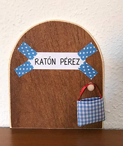 Ratoncito Pérez. La auténtica puerta mágica. Con una preciosa bolsita de tela azul para dejar el diente. El Ratoncito Pérez, vendrá a por tu diente y dejará una monedita.