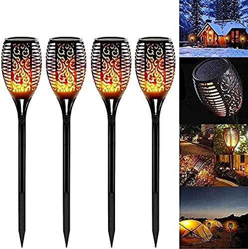 12LED Solar Torch Garden Solar Flame Light with Waterproof IP65 Garden Lights 4/8 Pieces Solar Light Automatic ON/Off Solar Torch Solar Lamps with Realistic Flames for Outside/Garden