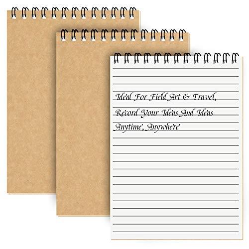 Cuaderno Espiral A5 Forrado, Pack de 3 Bloc de Notas Tapa Blanda Cubierta de Kraft,100 páginas / 50 hojas Libretas, Planificador Perfecto para Viajar (Marrón)