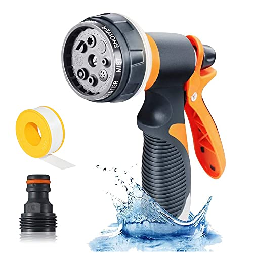 Hose Nozzle, Garden Hose Nozzle, Water Hose Nozzle with 8 Adjustable Watering Spray Patterns, High Pressure Spray Nozzle & Hose Sprayer for Garden, Cleaning Cars, Showering Pets