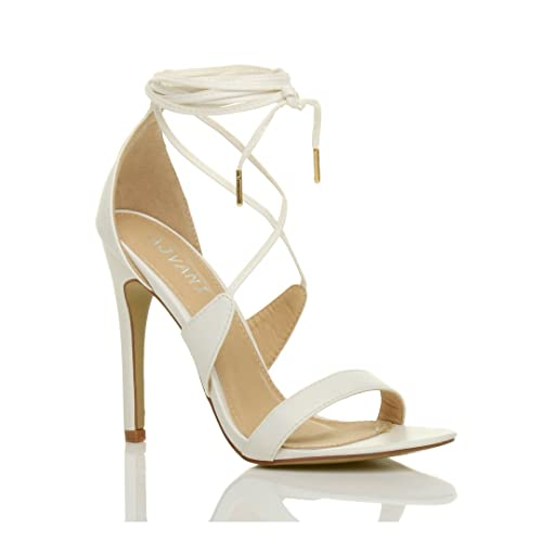 03d11f6a17b Ajvani Womens Ladies high Heel Barely There Strappy lace tie up Sandals  Shoes Size