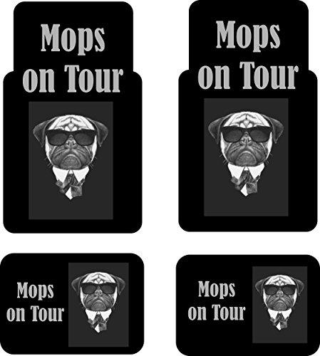 Creativ Deluxe Auto-Fussmatten Bedruckt 4er Set, Mops on Tour Fussmatte für Auto, Bedruckt mit Motiven, auch individuelle Gestaltung