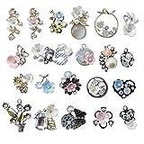 Chenkou Craft Random 20pcs Wholesale Lots Mix Alloy Resin Rhinestone Flowers Pendants Charms Beads Bracelet Necklace Jewelry Findings