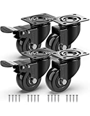 GBL® 4 x Zwenkwielen 50mm met Schroeven - Meubelzwenkwielen Zwaar Rubberen Zwenkwielen voor Meubels - Wielen Karretje - Transport Karretje (2 met rem + 2 zonder rem)