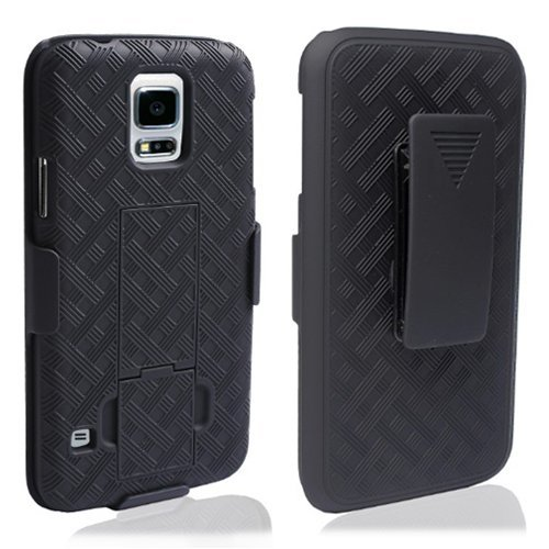 Galaxy S5 Case - Belt Clip Holster Cover Shell Kickstand Criss Cross Black New Plaid Design, Samsung Galaxy S5 Case