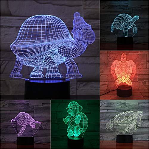 Solo 1 piezas Animal Tortoise Lámpara 3D Sensor táctil 7 Lámpara decorativa que cambia de color Niños Kit de bebé para niños Nightlight Turtle Led Night Light