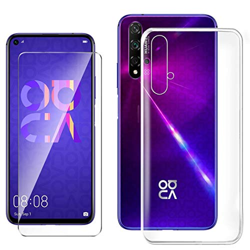 HYMY Hülle für Huawei Nova 5T + 1 x Schutzfolie Panzerglas - Transparent Schutzhülle TPU Handytasche Tasche Durchsichtig Klar Silikon Hülle für Huawei Nova 5T (6.26