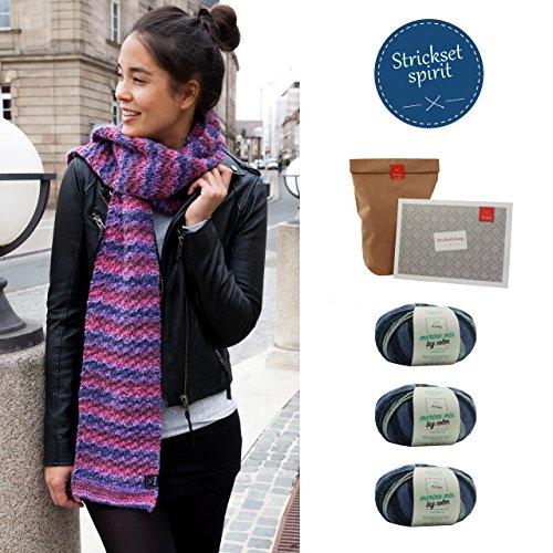 MyOma Strickset Schal - DIY Packung Schal selber Stricken - im Set dabei sind 3 Knäuel Merino Mix Big Color Wolle + Strickanleitung + gratis Wollrausch-Label - in Farbe Spirit (Fb5005)
