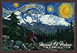 Mount St Helens, Washington - Bigfoot - Starry Night 107283 (36x24 Giclee Art Print, Gallery Framed, Espresso Wood)