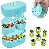 KAPCHEBEST nachhaltige, auslaufsichere Lunchbox für Kinder - inkl. GRATIS Gemüse Obst Ausstechformen aus Edelstahl - Bento-Box mit 3 Fächern und Besteck aus Reisfasern - Brotdose mit Fächern