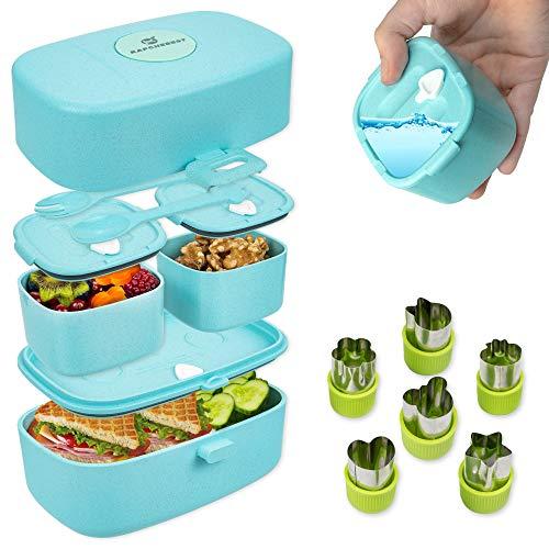 KAPCHEBEST nachhaltige, auslaufsichere Lunchbox für Kinder - inkl. Gemüse Obst Ausstechformen aus Edelstahl - Bento-Box mit 3 Fächern und Besteck aus Reisfasern - Brotdose mit Fächern